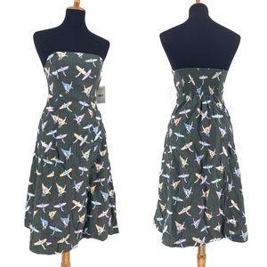 Free People Novelty Bird Print Midi Summer Dress
